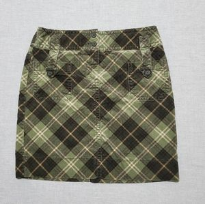 LOFT Plaid Corduroy Skirt